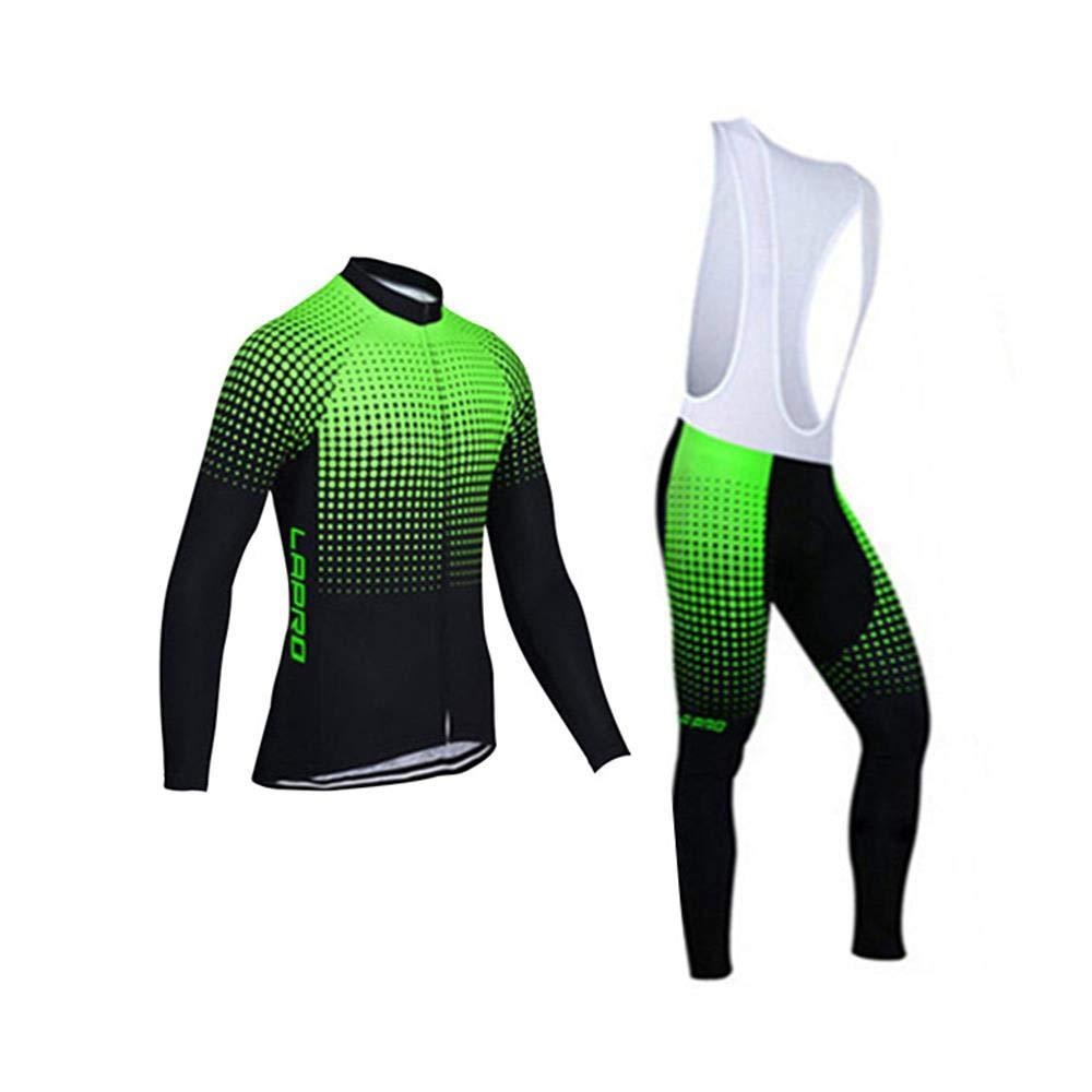 D.Stil Herren Radtrikot Set Langarm mit Sitzpolster UV Schutz für MTB Rennrad Fahrrad Jersey + Trägerhose Radsportanzug M - XXXXL