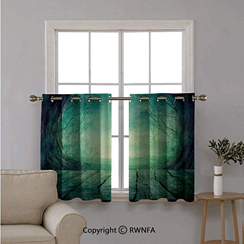 RWNFA Window Treatments Short Curtains Tier for Kitchen,Spooky Scary Dark Fog Forest with Dead Trees and Wooden Table Halloween Horror,for Kitchen Bathroom or Any Small Window,42
