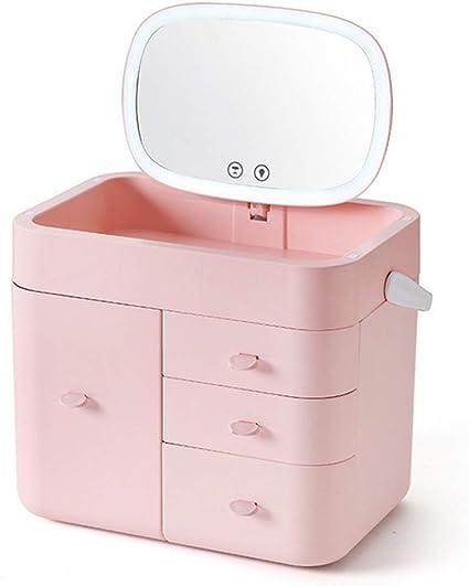 Estuche para cosméticos Caja de almacenamiento de gran capacidad, de múltiples capacidades, de gran capacidad, con espejo de luz LED Estante para el cuidado de la piel en el hogar,Pink: Amazon.es: Belleza