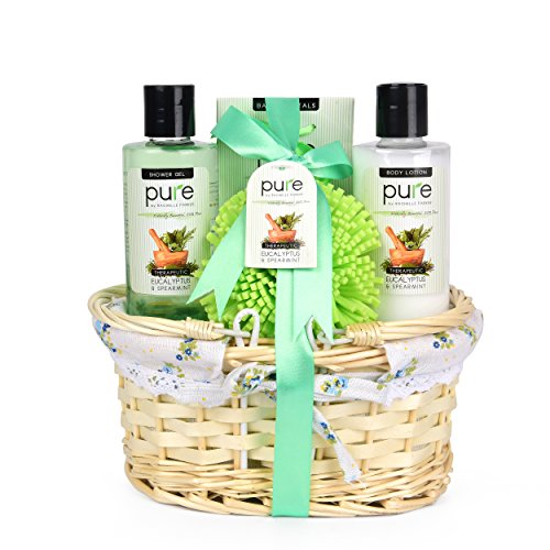 Mens Gift Set - Gift Baskets for Him! Eucalyptus & Spearmint Essential Oils Wicker Gift Basket. #1 Birthday Gifts for Men! Get Well Gift, Sympathy Gift Gift Baskets for Men & Women! (Valentine Baskets For Men)