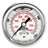 """Winters PFQ Series Stainless Steel 304 Dual Scale Liquid Filled Pressure Gauge with Brass Internals, 0-2000 psi/kpa 1-1/2"""" Dial Display, +/-2.5% Accuracy, 1/8"""" NPT Back Mount"""