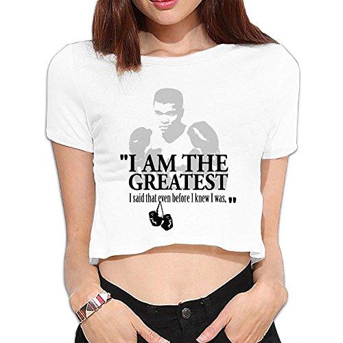 Women's I Am The Greast Said Before I Knew I Was Ali Crop Top Midriff Tshirt White X-Large ()