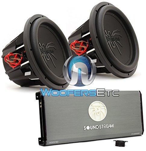 """pkg Soundstream T1.6000DL Monoblock Amplifier + Pair of T5.152 15"""" Dual 2-Ohm Subwoofers"""