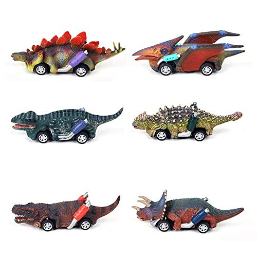 GZCY Gifts Toys for 3 4 5 6 7 8 9 Year Old Boys, Pull Back Dinosour Cars for Boys Birthday Present Toy Car for Kids Age 2-9 Toys for Toddlers Infant (6 Pack)