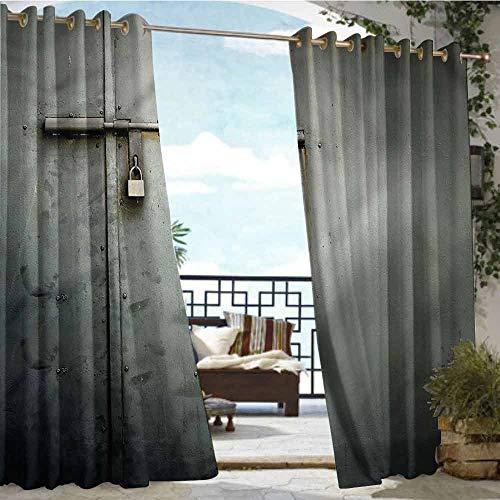Andrea Sam Indoor/Outdoor Single Panel Print Window Curtain Grey,Warehouse Store Door Lock,W84 xL108 for Patio Light Block Heat Out Water Proof Drape (Atlanta Best Store Outdoor Furniture)