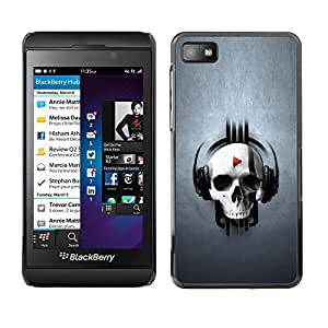 CASEMAX Slim Hard Case Cover Armor Shell FOR Blackberry Z10- SKULL MUSIC PLAY