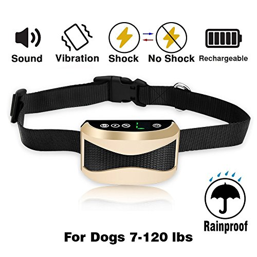 Airsspu Bark Collar [2018 Upgrade] Humane And No Harm Shock No Bark Collar with RECHARGEABLE And VIBRATION Barking Collar For Small Medium Large Dog