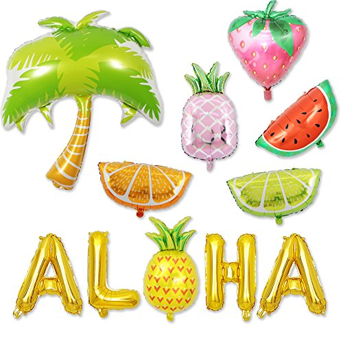 BALONAR Summer Party Decoration Strawberry Balloon Watermelon Balloon Pineapple Balloon Palm Tree Balloon Aloha Decoration with Summer Fruit Hawaiian Party Beach Party Decoration Baby Shower Decora