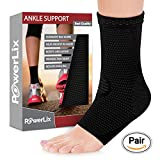 PowerLix Ankle Brace Compression Support Sleeve for Injury Recovery, Joint Pain and more. Plantar Fasciitis Foot Socks with Arch Support, Eases Swelling, Heel Spurs, Achilles tendon (Black, Small)