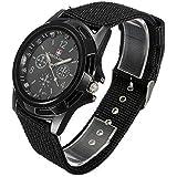 QBD Mens Black Army Military Pilot Aviator Swiss Outdoor Sports Watch-Fabric/Canvas Strap 17-21cm-Decorative dial 4cm-Luminous Hands