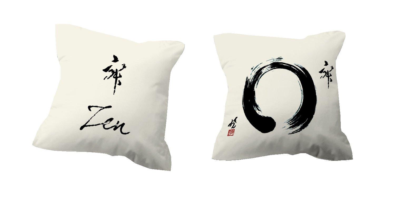 TSUKI Cojín con relleno ZEN beige/negro 60 x 60 cm Zen / Chillout