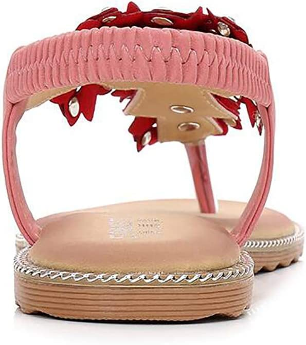 SHANGXIAN Womens Bohemian Flat Sandals Non-Slip TPR Outsole Fashion Summer Shoes Comfortable Elastic Clip Toe Slippers,Black,37