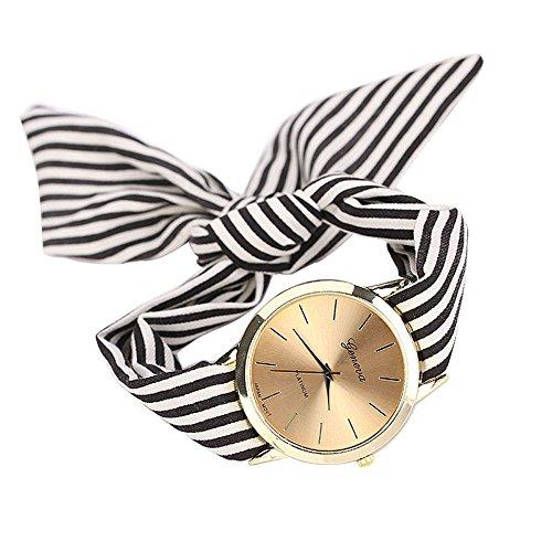 Sunyastor Most Fashion Elegant Women Floral Stripe Cloth Bracelet Mineral Glass Dial Window Quartz Analog Wrist Watch Black ()