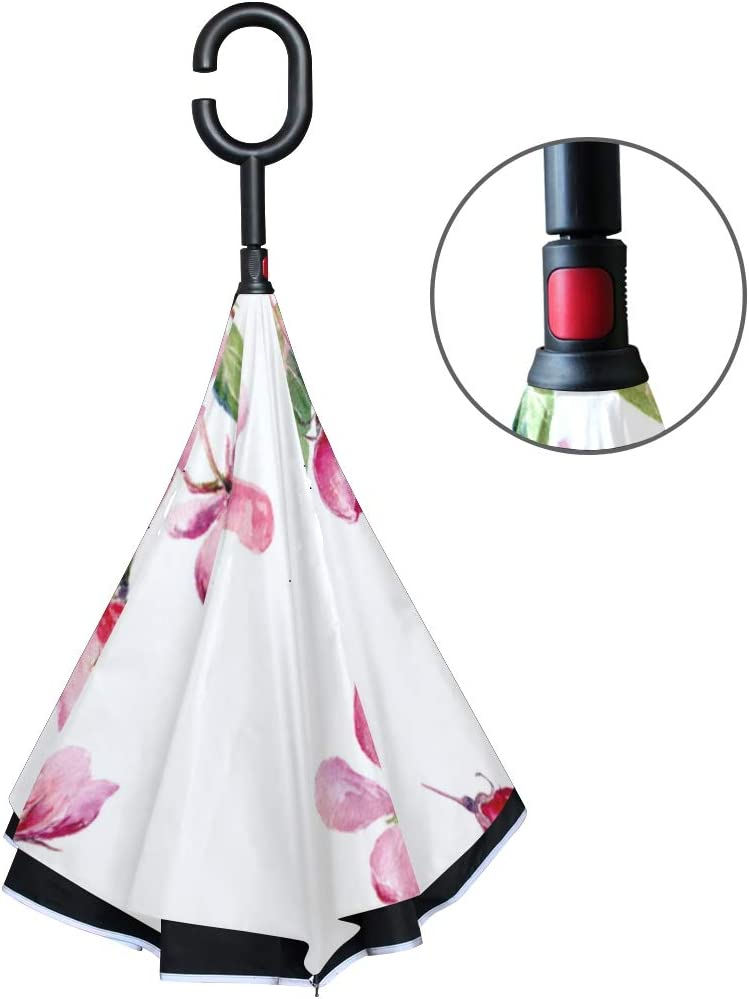 Double Layer Inverted Inverted Umbrella Is Light And Sturdy Set Red Reverse Umbrella And Windproof Umbrella Edge Night Reflection