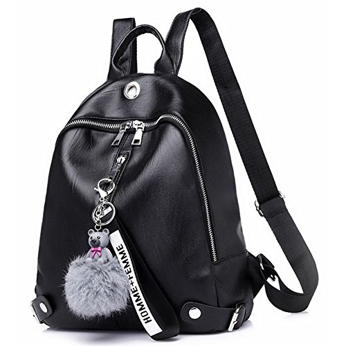 for Leather Mini Waterproof Fashion Backpack Black Women Lightweight Backpack Purses AIqfdwf