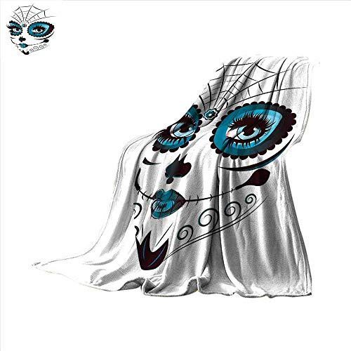 Skull Throw Blanket Graphic of Cute Dead Skull Teen Girl Face with Make Up and Ornate Design Print Velvet Plush Throw Blanket 60
