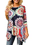 ANDUUNI Womens Floral Print 3 4 Sleeve Irregular Hem Asymmetrical Long Tunic Shirts Casual Long Blouse Tops For Leggings (Large, Flower Colorful)