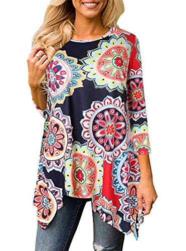 ANDUUNI Womens Floral Print 3 4 Sleeve Irregular Hem Asymmetrical Long Tunic Shirts Casual Long Blouse Tops For Leggings (Large, Flower Colorful) by ANDUUNI