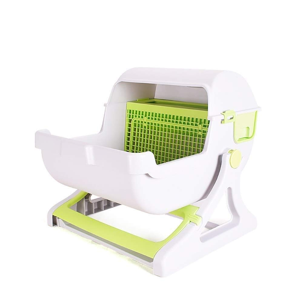 Pet toilet HLR-Pet Potty Pad Simple Semi-Automatic Litter Box Drawer Type Easy to Clean Semi-Enclosed Filter Cat Toilet 50x46x46cm (Color : B) by Pet toilet