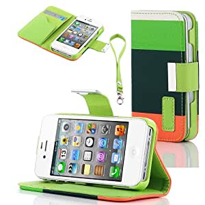 XYUN Colorful Pu Leather Wallet Type Magnet Design Flip Case Cover for Iphone 4 4s 4g (Green+darl green+orange)