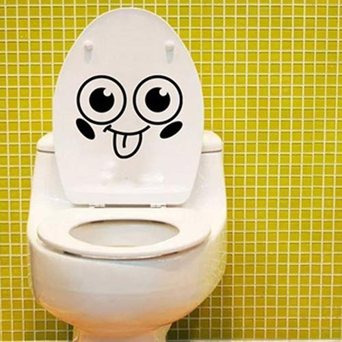 Potelin Removable Waterproof Cute Smile Face Wall Decor Toilet Closestool Sticker Decal Durable and Useful
