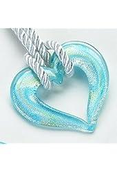 Open Heart Mediterranean Precious Gemstone Necklace Pendant Jewelry