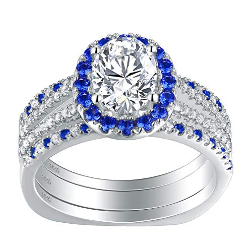 (Newshe Blue Sapphire Engagement Wedding Ring Sets for Women 925 Sterling Silver White Cz Size 7)