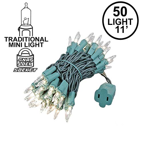 Novelty Lights 50 Light Clear Christmas Mini Light Set, Green Wire, 11' Long