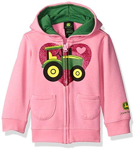John Deere Girls' I Heart Tractor Fleece, Medium Pink, 18 Months