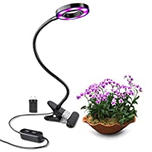 Led Grow Light by Growstar 10W Plant Light 8 Modes Red/Blue Spectrum Setting Desk Grow Light with 360° Adjustable Gooseneck for Office/Home/Indoor Plants and House Flowers