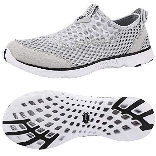 ALEADER Mens Slip On Sneakers | Walk, Run, Swim, Train | Packable, Washable, Comfortable | Hiker, Traveler Lt Grey/Black 13 D(M) US ()