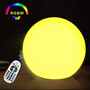 Cordless LED Orb RGB Ball Lamp with Remote, 6 Inch 16 Color Changing Glow Ball, IP68 Waterproof, Multi-Use for Ambience Decor Night Lights
