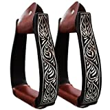 Black Hand Etched Aluminum 5' Adult Western Stirrups By Taho