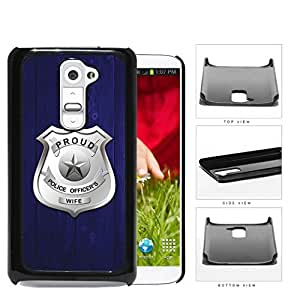 Proud Police Officer's Wife Blue Wood Hard Plastic Snap On Cell Phone Case LG G2