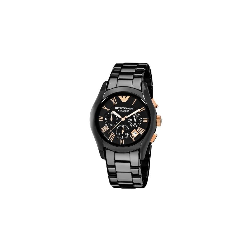 Emporio Armani Mens AR1410 Ceramic Black Chronograph Dial Watch