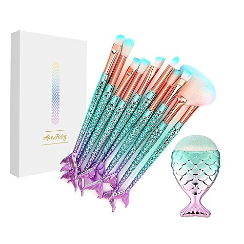 Dry Eye Shadow Dual Color - Apr.Fairy Mermaid Eye Brushes Chubby Fish Foundation Makeup Brush Set with Box 11pcs Soft Bristles Beauty Tools Eyeshadow Eyebrow Face Blush Concealer Kit