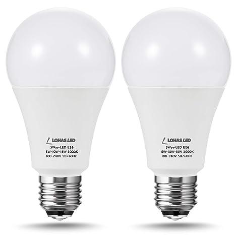 Lohas 3 Way Led Light Bulbs A21 Led Bulb Dimmable Daylight 5000k