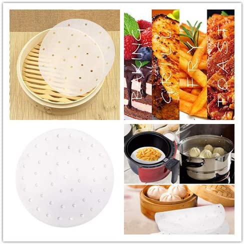 Air Fryer Liners Perforated Parchment Paper White 100 Count 10 Inch Bamboo Steamer Liners Non-Stick Steamer Parchment Paper