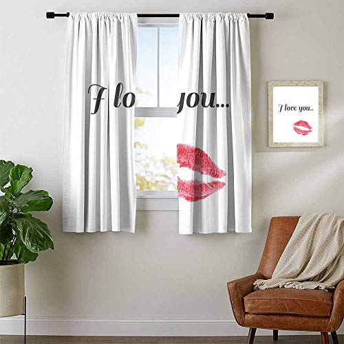 I Love You, Curtains Small Window, Grunge Style Seductive Female Smooch with Red Toned Lipstick Valentines, for Bedroom, W72 x L45 Inch Dark Coral Gray ()