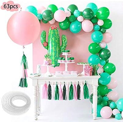 SPECOOL Decoración globos de fiesta tropical- 40PCS Globos de latex rosa y verde, Enorme cactus con globos y globo rosa para el cumpleaños de las ...