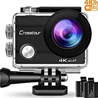 Action Camera Crosstour 4K WIFI Ultra HD Waterproof 2' LCD 30m Underwater Camera 170°Wide-angle with 2 Rechargeable 1050mAh Batteries and Accessory Kits for Cycling Swimming Snorkeling