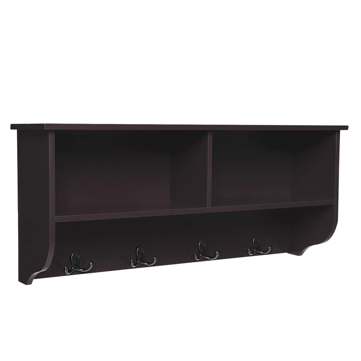 "SONGMICS Wooden Entryway Hanging Shelf and 4 Dual Coat Hooks, Space-Saving Storage Cubby, Espresso ULES02BR, 31.5""L x 7.9""W x 13.8""H"