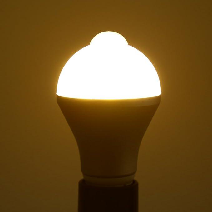 solled E27 7 W PIR sensor de movimiento, luz blanca cálida, 14 LEDs bajo consumo humano por inducción lámpara para sala de estar cuarto de baño guardarropa ...