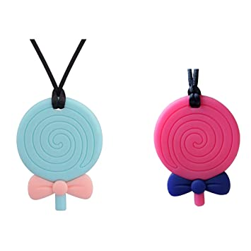 2Pcs Chew Necklace for ADHD Oral Motor Chewing Biting Teething Needs Autism Kids