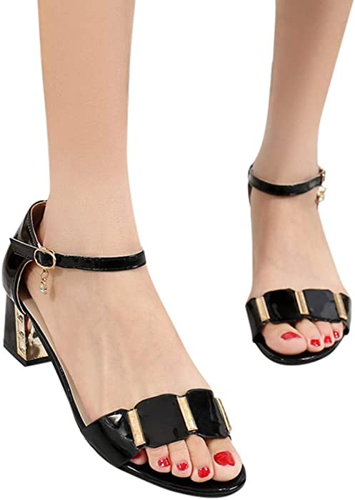 9d250fc714e73 Amazon.com: Clearance Sandals Womens Buckle Strap Ankle Mid Heel ...
