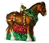 Old World Christmas Holiday Clydesdale Glass Blown Ornament