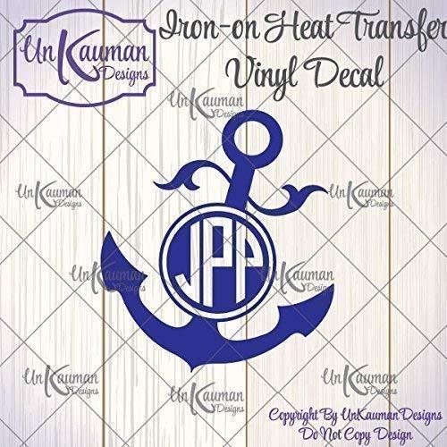 3 Letter Circle Monogram Iron On Vinyl Decal #CM
