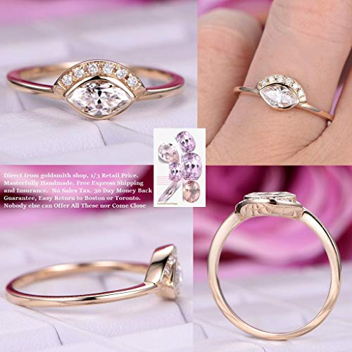 Marquise FB Moissanite Engagement Ring Pave Diamond Wedding 14K Yellow Gold 4x7mm ()