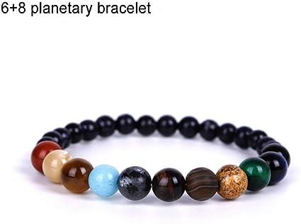 Unisex fatto a mano Sistema solare Bracciale Universo Galassia I Nove Pianeti Guardiano Stella Pietra naturale Perline Braccialetti Braccialetti Per donna e uomo Regalo