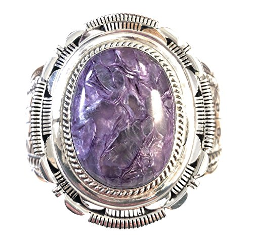 - Nizhoni Traders LLC Navajo Charoite And Sterling Silver Cuff Bracelet Signed By Marcella James